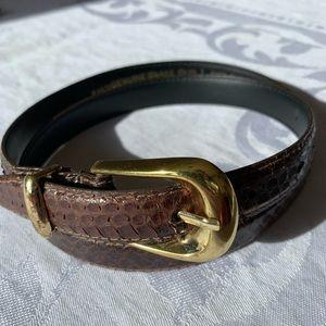 Snake skin belt Large brown gold buckle